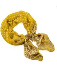 Bijoux Me Šála se sponkou Melodie 299mel003-10 - žlutá puntíkovaná