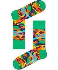 Happy Socks maskáčové pánské ponožky Bark Green
