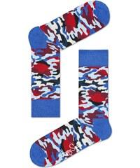 Happy Socks maskáčové pánské ponožky Bark Red/Blue