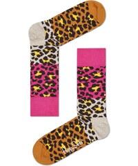 Happy Socks hnědo-růžové pánské ponožky Leopard