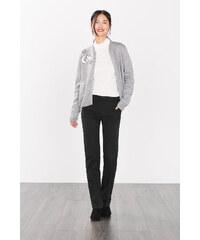 Esprit Elegantní strečové kalhoty, žebr. materiál