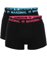 Sada dvou černých boxerek s růžovým a modrým nápisem Marginal