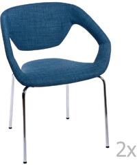 Sada 2 modrých čalouněných židlí D2 Space