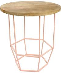 Světle růžový stolek s dřevěnou deskou Hexa Blush
