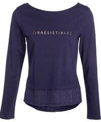 T-shirt bimatière brodé Bleu Acetate - Femme Taille 0 - Cache Cache