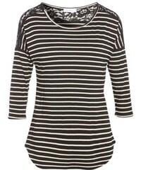 T-shirt rayé bicolore dentelle Noir Elasthanne - Femme Taille 0 - Cache Cache