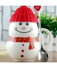 Lesara Schneemann-Tasse mit Mütze - Rot