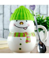 Lesara Schneemann-Tasse mit Mütze - Grün