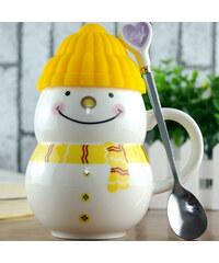 Lesara Schneemann-Tasse mit Mütze - Gelb