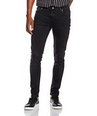 Nudie Jeans Unisex Jeans Skinny Lin, Schwarz (Used Black), 29