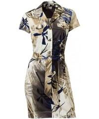 Mandarin Print dress with belt, taupe-multicolour