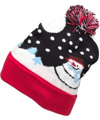 7X Smowman Scene Bobble Hat Navy/Red
