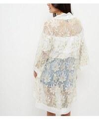New Look Mela – Weißer Kimono mit kontrastierender Spitze