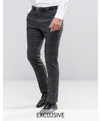 Noak - Enge gebürstete Anzughose mit Karomuster - Grau