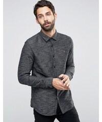 Farah - Strukturiertes gewebtes Hemd in Schwarz, reguläre Passform - Schwarz