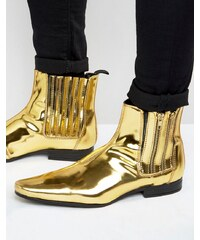 ASOS Chelsea Boots In Gold With Double Zip - Gold