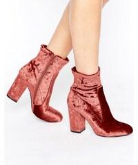 Public Desire - Lila - Ankle Boots aus rosa Samt mit Absatz - Rosa