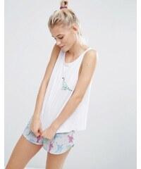 ASOS - Besticktes Dinosaurier-Pyjama-Set mit Trägershirt & Shorts - Mehrfarbig
