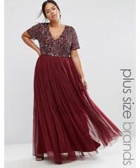 Lovedrobe Luxe Lovedrobe - Luxuriöses Maxi-Tüllkleid mit V-Ausschnitt und farblich passenden, feinen Pailletten - Rot