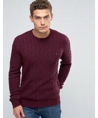 Jack Wills - Damson - Pullover aus Merinowolle mit Zopfmuster - Rot