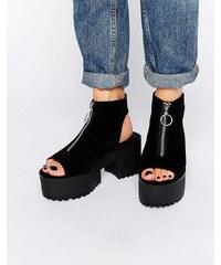 Pull&Bear - Schuhe mit Reißverschluss und offener Zehenpartie - Schwarz