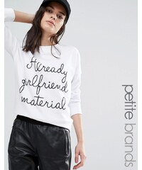 Noisy May Petite - Übergroßes Sweatshirt mit Motiv - Weiß
