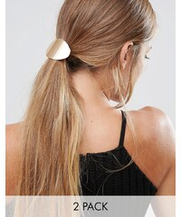Glamorous Double Disc Hair Ties - Gold