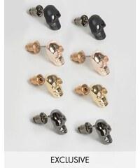 DesignB London - Totenkopf-Ohrringe im 4er-Pack - Mehrfarbig