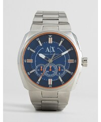 Armani Exchange - AX1800 - Chronographen-Uhr mit silberfarbenem Armband und blauem Zifferblatt - Silber