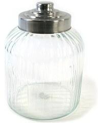 KERSTEN - Dóza skleněná s kovovým víčkem, čirá, 18x18x23,5cm (DIN-5370)