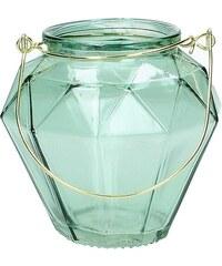 KERSTEN - Svícen skleněný, zelený 10x10x10cm(LEV-9599)
