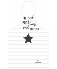 "Bastion collections - Zástěra pruhovaná bílá/tm.šedá, ""good food…"" (AN-AP-GOODFOOD-STR)"