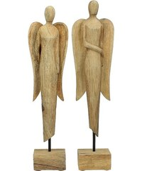 KERSTEN - Set 2ks dřevěných sošek - andělé, dřevo přírodní, 14x8x53cm (cena za ks) (WER-2404)