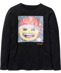 T-shirt EMOJI avec paillettes réversibles noir manches longues enfant - bonprix