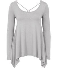 BODYFLIRT T-shirt à pans asymétriques gris femme - bonprix