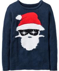 bpc bonprix collection Pull Noël avec motif Père Noël bleu manches longues enfant - bonprix
