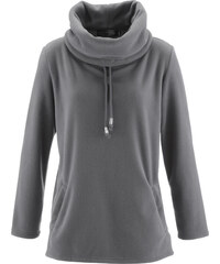 bpc selection Fleece-Pullover langarm in grau für Damen von bonprix