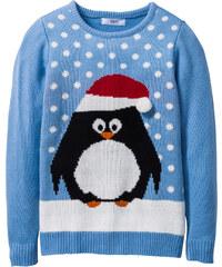 bpc bonprix collection Weihnachtlicher Pullover mit Pinguinmotiv langarm in blau für Mädchen von bonprix