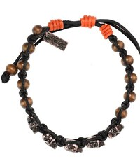 Icon Brand Burnished Silver Skull Bracelet With Brown Wood Beads