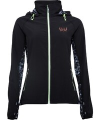 ELLE SPORT Mens Stretch Woven Performance Training Jacket Black/Abstract Ink/Coral Reef