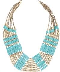 Kaskádovitý náhrdelník ve zlaté barvě s tyrkysovými korálky Pieces Billie