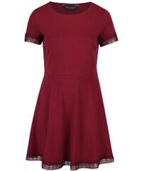 Vínové šaty s krajkovaným lemem Dorothy Perkins Curve