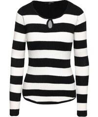Černo-bílý pruhovaný svetr s průstřihem v dekoltu TALLY WEiJL