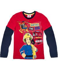 Feuerwehrmann Sam Langarmshirt rot in Größe 98 für Jungen aus 100% Baumwolle