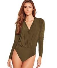 MISSGUIDED Zelené wrap body s límečkem