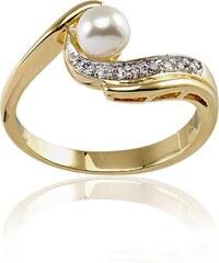 Cleor Bague en plaqué or ornée d'une perle - blanc