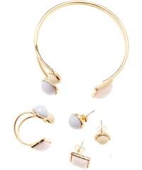 Edenia Lavande - Parure bague, boucles d'oreilles et bracelet dorés à l'or - pastel