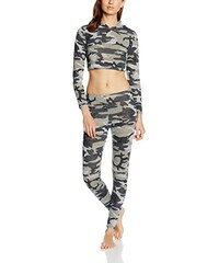 Boohoo Damen Zweiteiliger Schlafanzug Leah Camo Print Crop Hoody Knitted Set