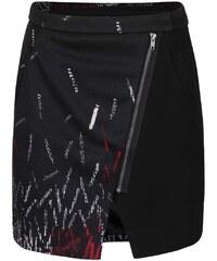 Černá vzorovaná sukně s křivým zipem Desigual Elo