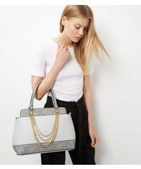 New Look Graue Handtasche mit Schlangenmuster-Einsatz und Kettenriemen